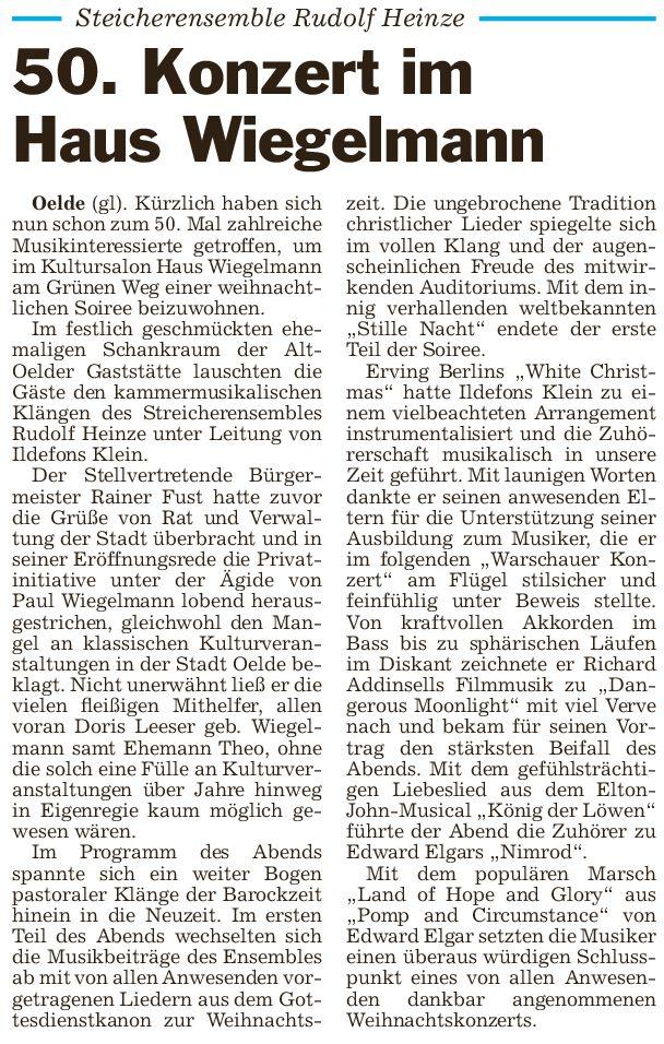 Pressebericht 28.12.2014 Weihn