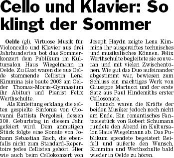 Pressebericht 31.07.2010