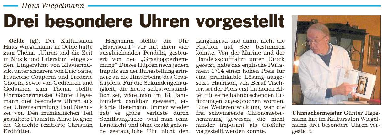 Pressebericht  Uhren und Zeit 15.11.2014